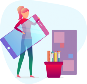 woman holding phone illustration