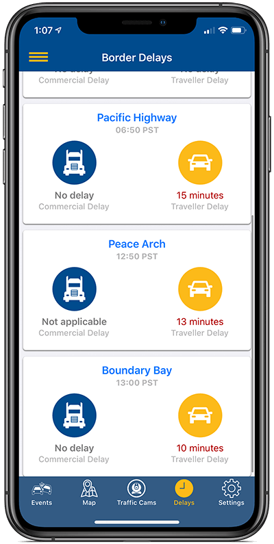 Mockup of BC Highways App showing border delays screen on iPhone XS Max