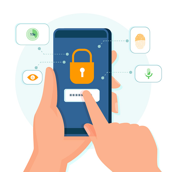 Security considerations for virtual care in the form of a Multi-Factor Authentication illustration: Cell phone with different options listed.
