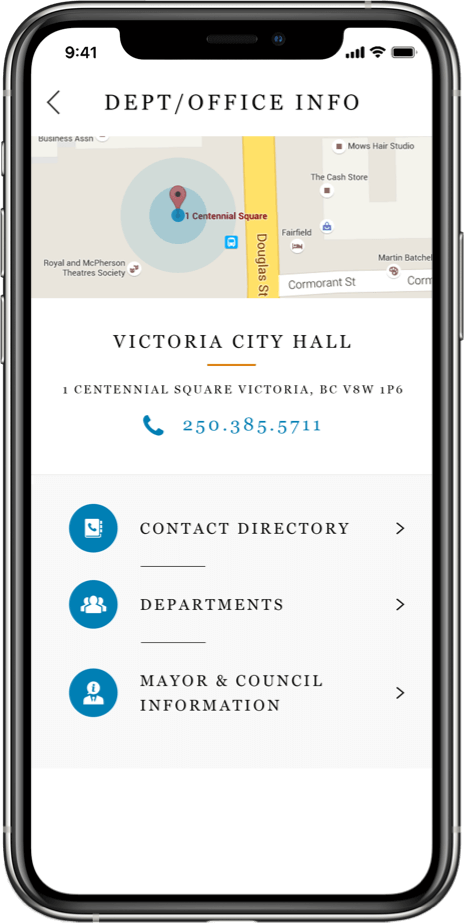 community engagement app showing location of Victoria City Hall