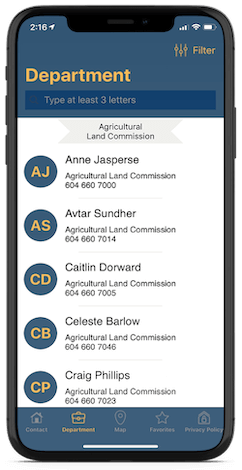 Mockup of BCGov Directory app showing all contact listings
