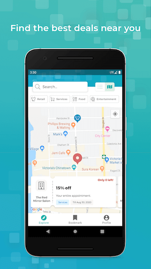Google Play Store mockup of Deals App (map screen) which was built with Kotlin Multiplatform
