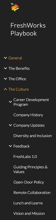 The onboarding section our company wiki built with Google Sites.