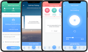 4 iPhone mockups showing features of the Mindshift app which helps manage and reduce anxiety