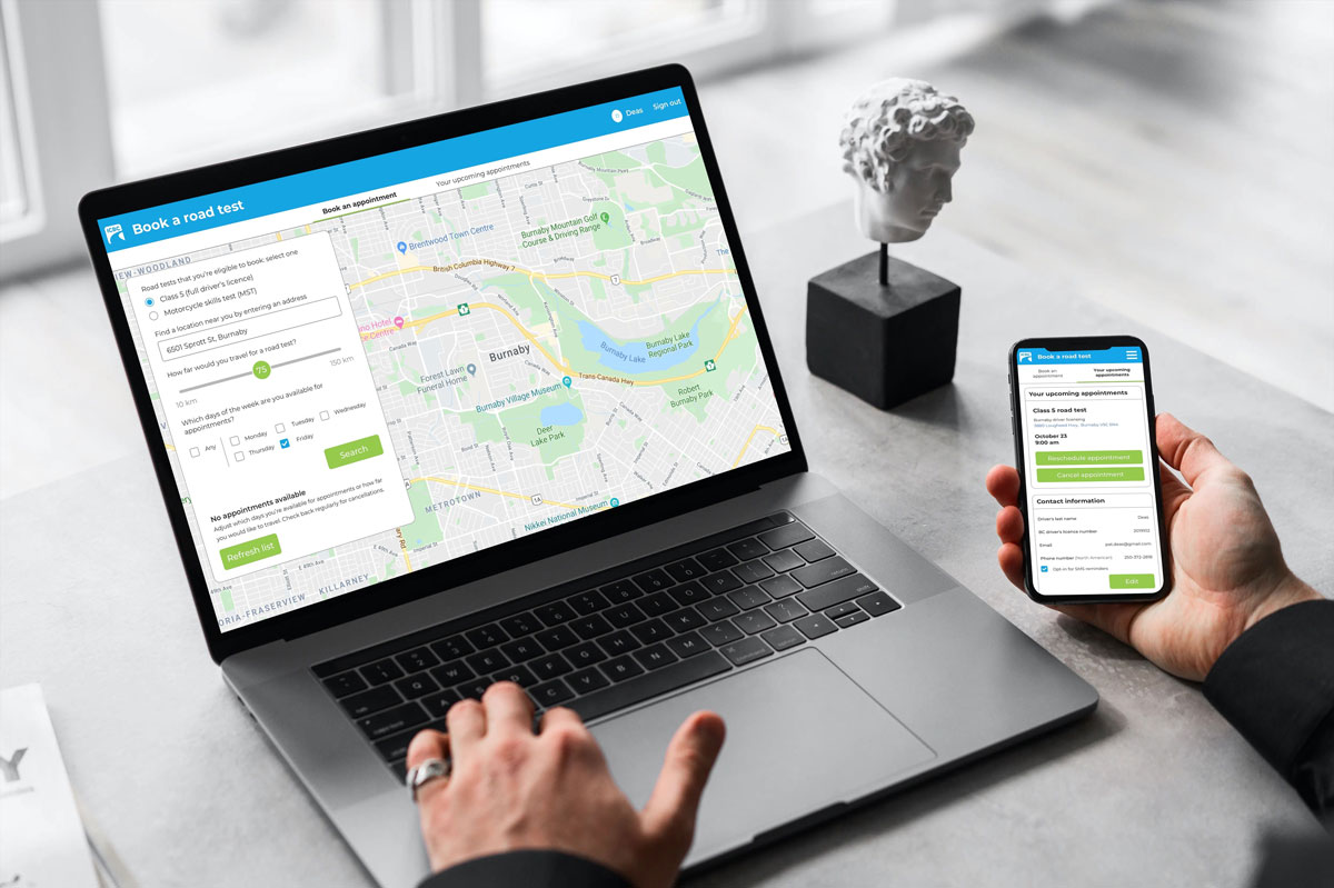 Digital transformation for road test booking application